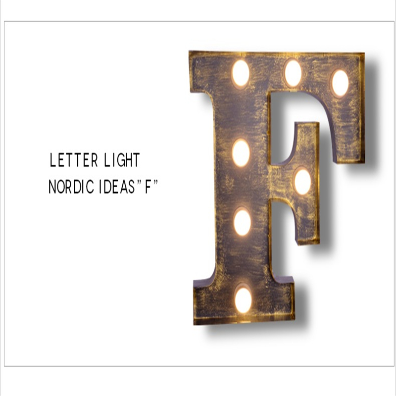 FUMAT Letters F Wall Lamps Vintage Art Deco Lamp Project Brand Logo Design Wall Lights Iron Wall Sconce for Restaureant Cafe