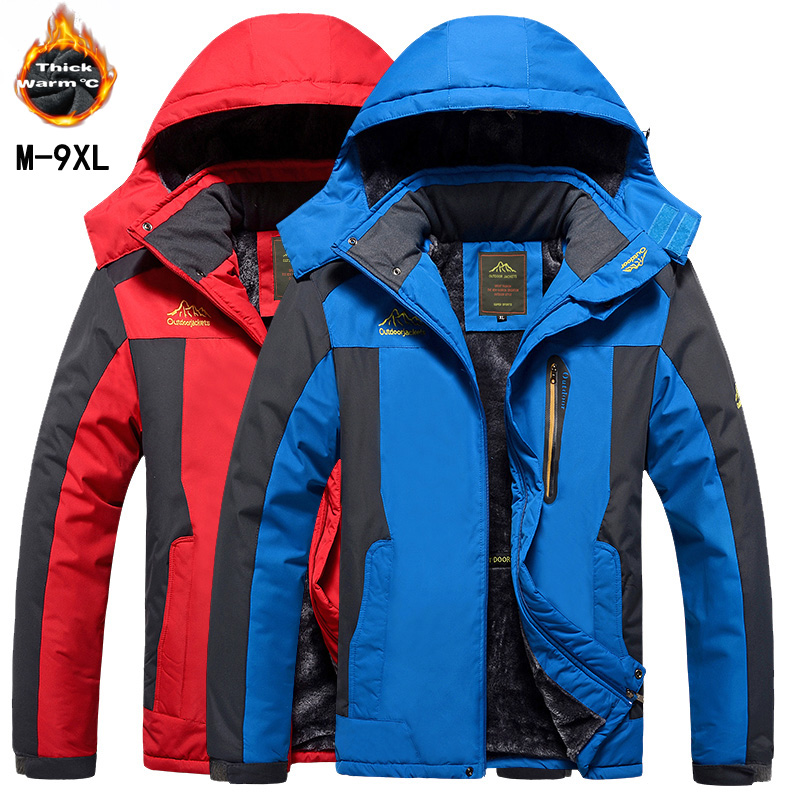 -30 C FIT Plus Thick Velvet Down & Parka Coat 6XL 7XL 8XL 9XL 2018 Winter Jacket Men Waterproof Windproof Chaquetas Hombre