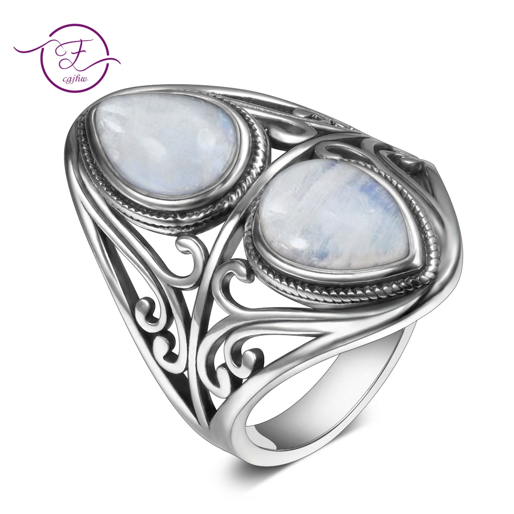 Charms 6x9MM Natural Rainbow Moonstone Rings Women's 925 Sterling Silver Jewelry Ring Vintage Anniversary Party Gifts For Women