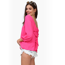Hot Sale Chiffon Blouses 9 Colors Available Colorful Women Shirt Hot Sexy Lady Girl Backless Massimo Cool Blouse Body Femme
