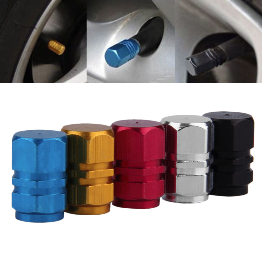 4 Pcs/Pack Compact Aluminum 9mm Dia. Tyre Wheel Rims Air Valve Stem Caps Cover Car Truck Motocycle Bike Tire Tyres Accessories