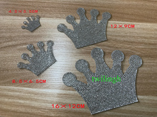 Rhinestone Crown Baby Clothes Patches Hot Fix Motif Children Suit Crystal iron on Glass Patch Applique