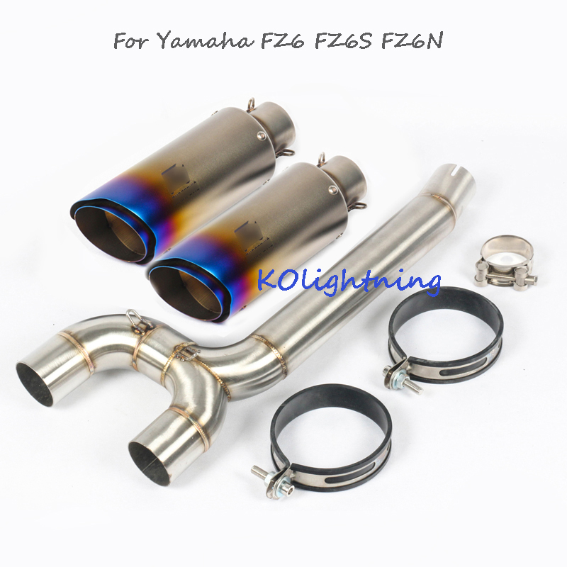 Slip on FZ6 FZ6N FZ6S Motorcyle Exhaust System Slip on Tip Link Pipe Escape Modified Connect Tube for Yamaha FZ6 FZ6S FZ6N motorcycle radiator cooler cooling for yamaha fz6 fz6n fz6 n fz6s 04 05 06 07 08 09 10 2004 2010