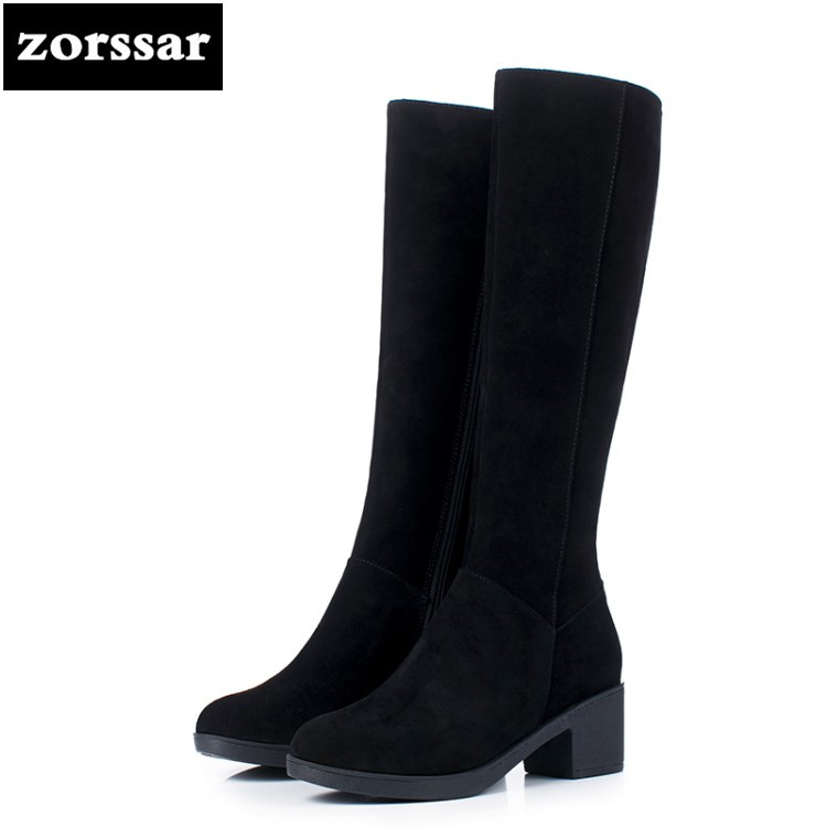{Zorssar} 2019 New Winter Fur Female Snow boots Fashion knee high Boots Cow Suede Leather Thick heel Women Knee High boots zorssar 2019 new winter fur female snow boots fashion knee high boots suede leather women over the knee boots high heels