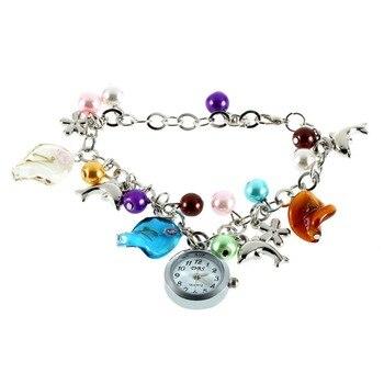 1pcs Cheap New Kiss Ocean- dolphin Alloy Charming Quartz Bracelet Bangle Wrist Watch Women relogio Bracelet Watches