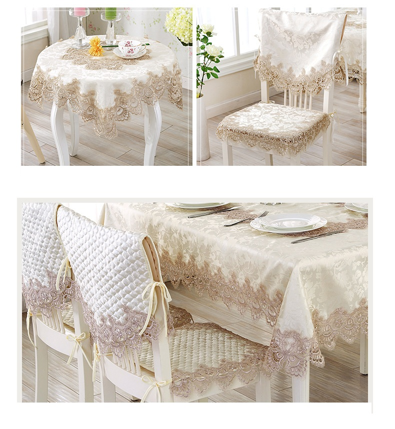 European classical lace jacquard round patchwork kitchen restaurant tablecloth set suit diameter 180cm table cloth chair cover