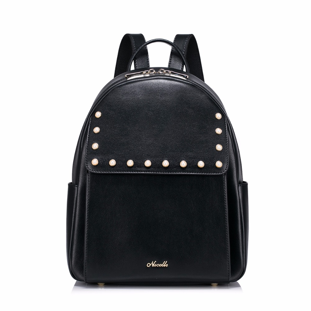 ФОТО Hot Sale Fashion Pearls Beads High Quality PU Leather Casual Women Lady Backpacks Daypack Shoulders School Bag For Girls Student