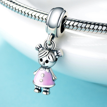 Strollgirl 100% 925 Sterling Silver Couple Little Girl Pendant Charm fit Girls Charm Bracelet & Necklaces DIY Fashion Jewelry bamoer valentine day gift 925 sterling silver cheers for love couple beer pendant charm fit charm bracelet diy jewelry scc478