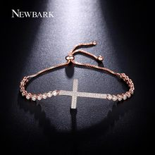 NEWBARK Trendy Round CZ Diamond Cross Design Beads Bracelets For Women Rose Gold Plated Silver Color Box Chain Jewelry Gifts