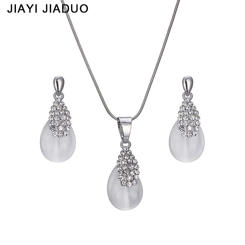 jiayijiaduo Fashion Bridal jewelry set Silver Necklace earrings For women elegant gift of Wedding Party dress shipping 2017