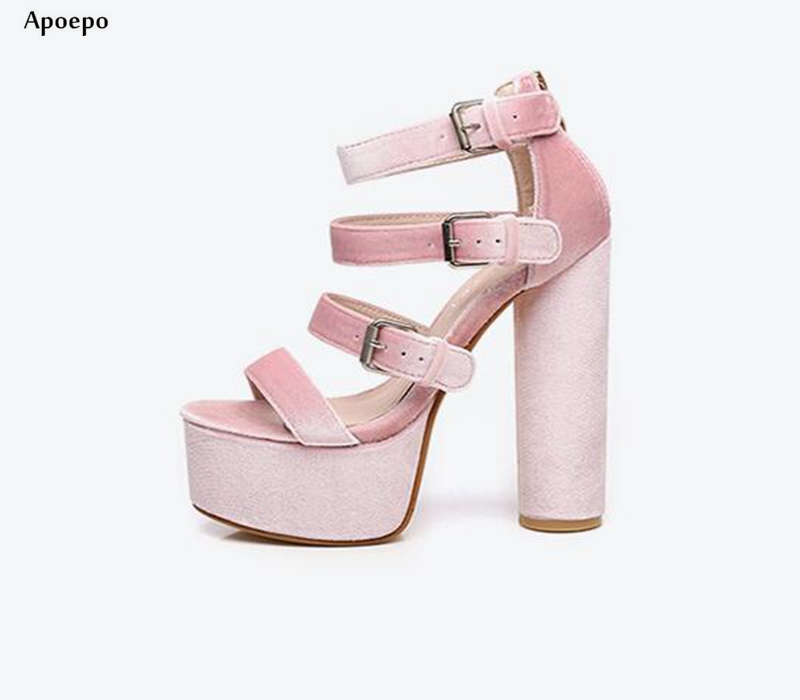 New Super High Thick Heels Woman Sandal 2018 Summer Open Toe Ankle Strap Platform Shoes Runway Cutouts Gladiator Shoes New Super High Thick Heels Woman Sandal 2018 Summer Open Toe Ankle Strap Platform Shoes Runway Cutouts Gladiator Shoes