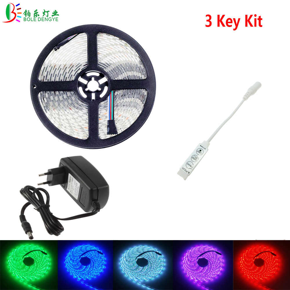 BOLEDENGYE 5050 RGB LED Strip 5M 1M 2M 3M Waterproof Flexible Tape Light 3 Key 44Key IR Remote RGB Controller 12V LED Adapter