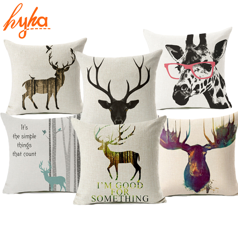 Hyha My Deer Style Cushion Cover Perspective Deer Colorful Deer Decorative Cushion Cover for Sofa Throw Sofa Pillow Cover