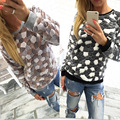 2016 Spring New Women Sweatshirt Print Cat Casual Sweatshirts KB948