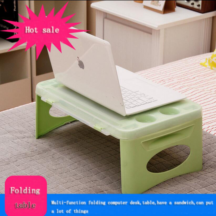 SUFEILE Folding Laptop desk Computer Desk / Mini Coffee Table Storage Plastic Fold Tables with A Small Notebook Car Learning
