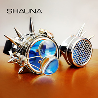 SHAUNA Heavy Metal Mechanical Punk Sunglasses Men Unique Halloween Cosplay Party Goggles Steampunk Glasses Women
