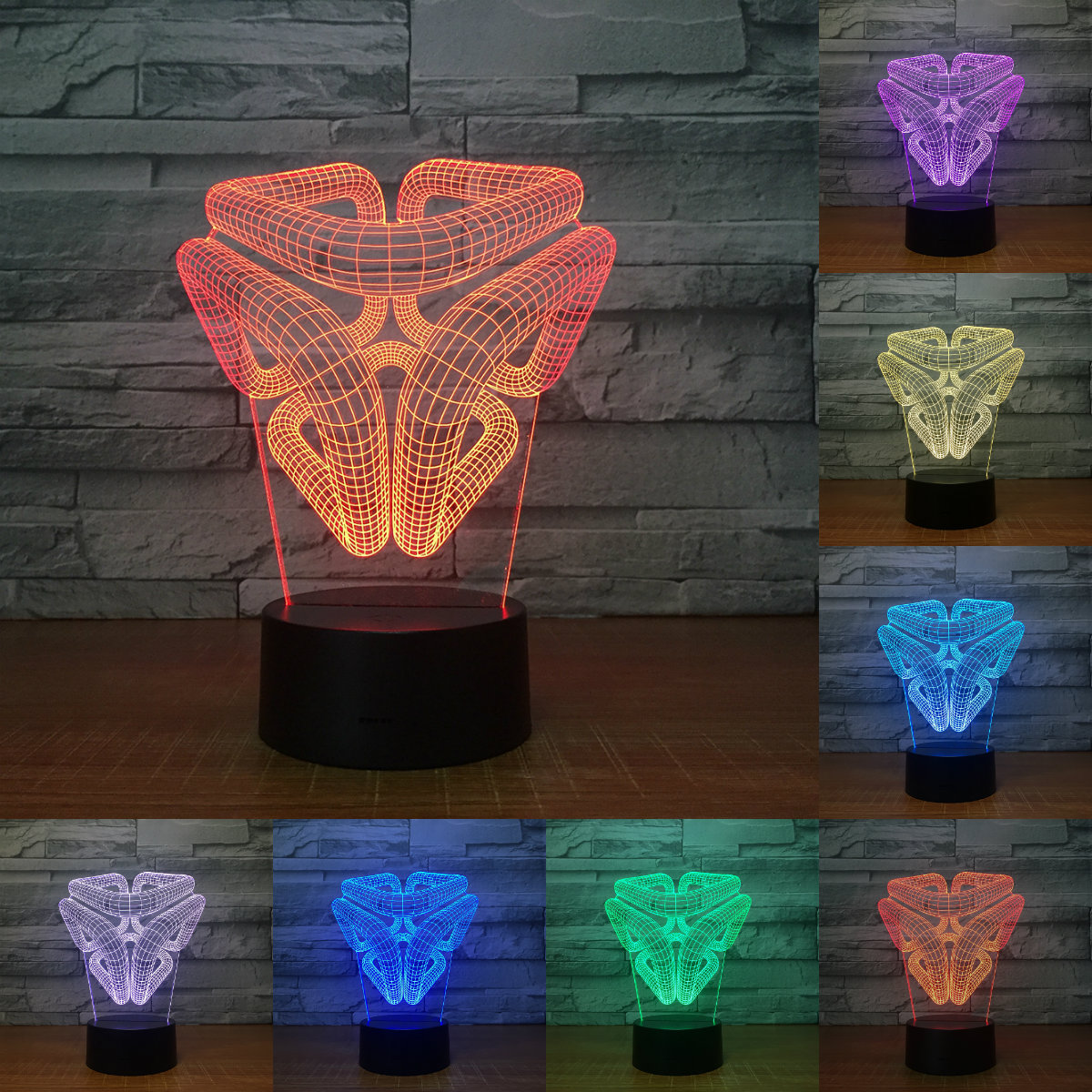 Creative 3D Illusion Lamp LED Desk Night Light 3D Abstract Graphics Acrylic Lamparas Atmosphere Lamp Novelty Lighting IY803059