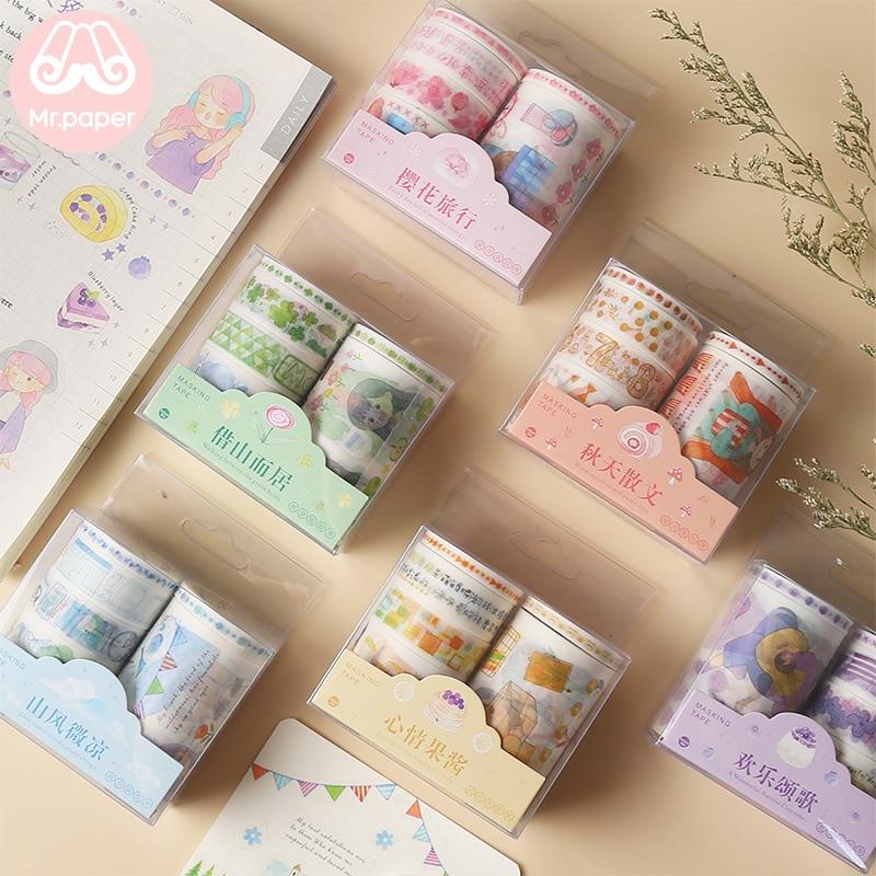Mr Paper 14 Designs 6pcs/set 5/15/30/60mm Cute Cartoon Colorful Washi Tapes Scrapbooking DIY Deco Creative Kawaii Masking Tapes