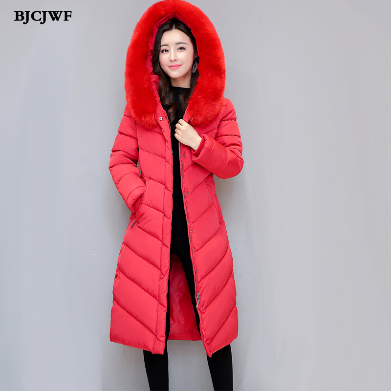 Winter jacket women 2017 X-long padding Parka big size fur Collar hooded Cotton-Padded Coats mantel damen female winter jackets 2017new down parka winter jacket women cotton padded thick ultra light long coat faux fur collar hooded female jackets for woman page 1