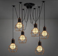 Golden Case 6 lights Edison Bulb Pendant Chandelier Retro Loft Edison Lamp Lighting Fixture for Coffee Bar
