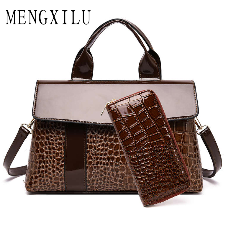Luxury Handbags Women Bags Designer 2019 Crocodile Pattern PU Leather Shoulder Bags for Women 2019 Famous Brand Ladies Hand Bags in Shoulder Bags from Luggage Bags