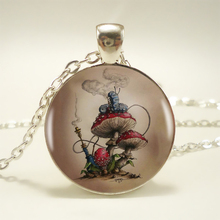 1pcs Alice in wonderland – mushroom Pendant Choker Statement Silver Necklace For Women Dress Accessories – Abaicer Jewelry HZ1