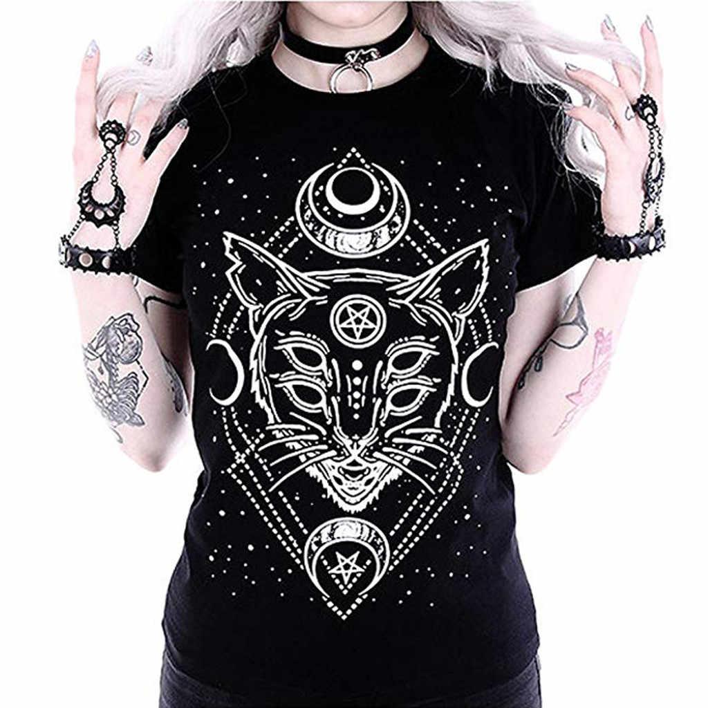 Ngôi Sao Punk In Hình Mèo Áo Thun Nữ Galaxy Áo Thun Nữ Tay Ngắn In Hình Mèo Đen Rời Punk Gothic Áo Thun Femme #570