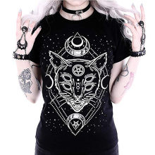 Star Punk Cat Print T-Shirt Fashion Women Galaxy Short Sleeve Cat Print Black Loose Punk Gothic Tops Casual T-Shirt Femme #570(China)