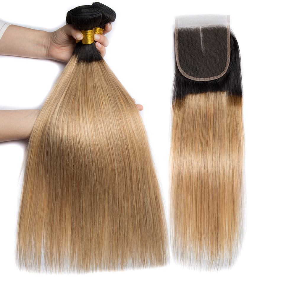 ALIBELE 1B 27 Blonde Bundles With Closure Ombre Bundle with Closure Brazilian Straight Remy Human Hair