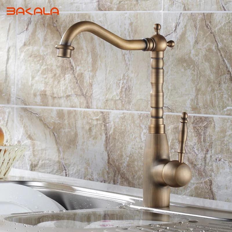 Antique Copper Bathroom Basin Kitchen Sink Mixer Tap Faucet HY 665