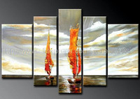 Free Shipping Sailing Boats On Sea Handpainted Oil Painting On Canvas High Quality Artwork No Frame