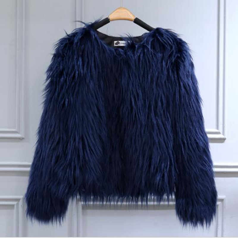 2018 Autumn Winter New Girl Europe And America Imitation Fur Faux Fur Coat Purple Black White Peach Pink Flesh Pink Jacket QC927