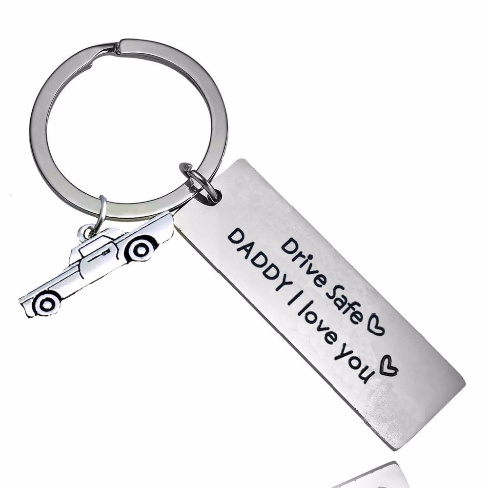 Engraved Drive Safe Daddy I Love You Keychain Heart Car