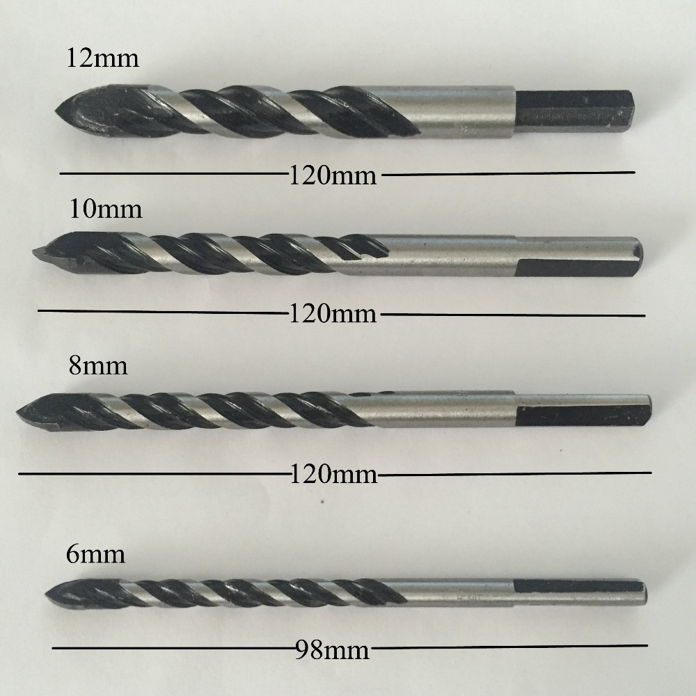 High quality new 1 pc glass ceramic tile drill bits set 6810 high quality new 1 pc glass ceramic tile drill bits set 681012mm porcelain spear head marble wall triangle core drilling in drill bits from tools on dailygadgetfo Gallery