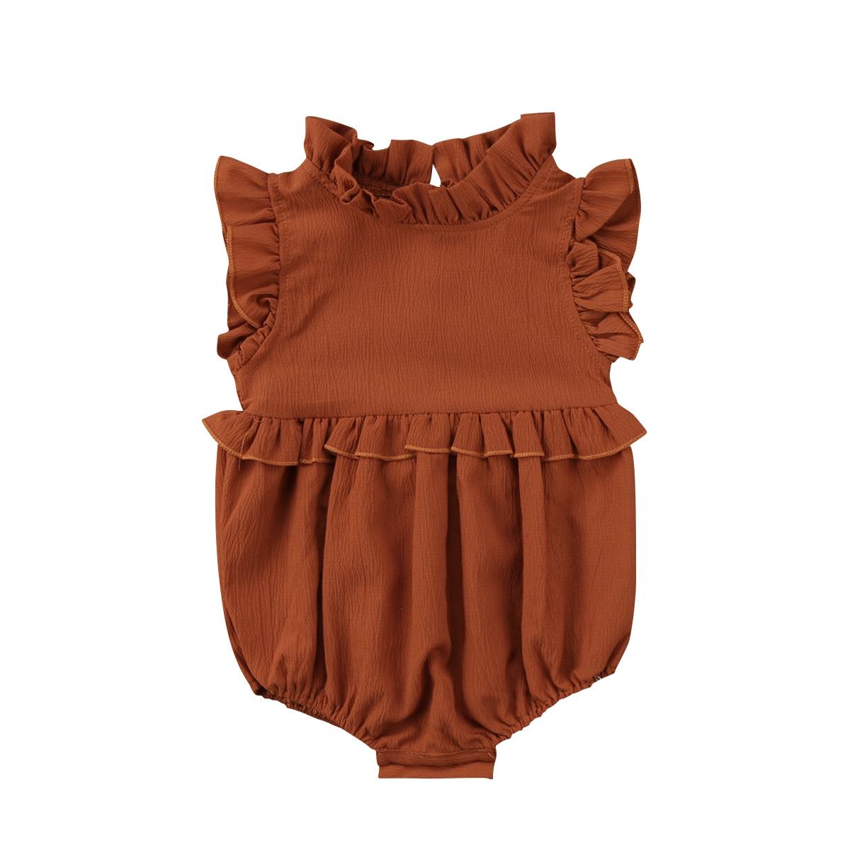Summer Solid Ruffle Sleeveless Romper Newborn Baby Girls