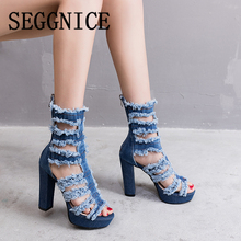 SEGGNICE Women's Super High Heel Sandals Denim Shoes Summer Fashion Platform Shoes Woman High Heel Sandals 2019 Zapatos De Mujer