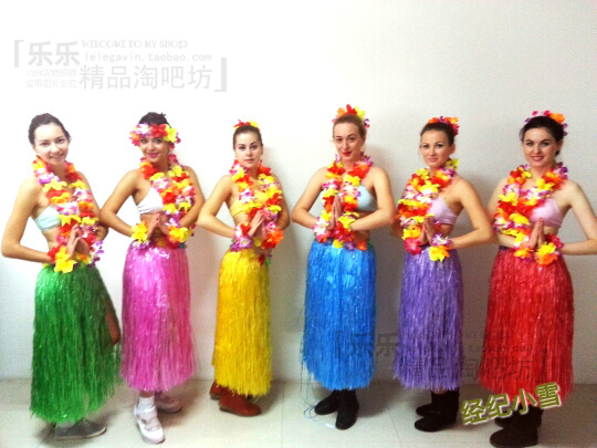 Halloween New Year Christmas Party Costumes 80cm Hawaiian Hula Grass Skirt Flower Dress Beach Dance Wears Belly In Dancing From Novelty