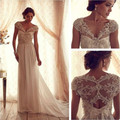 Elegant 2017 Long Wedding Dress A Line V neck Cap Sleeve Wedding Bridal Gowns With Chiffon Beaded and Crystals Bacless ED25