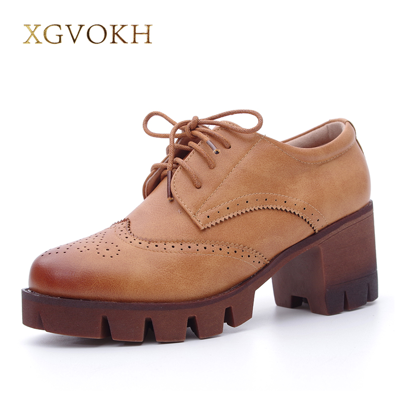 XGVOKH Women Shoes Casual Platform Oxfords Brogue Shoes Bullock Leather lace Up Flats College Style qmn women crystal embellished natural suede brogue shoes women square toe platform oxfords shoes woman genuine leather flats