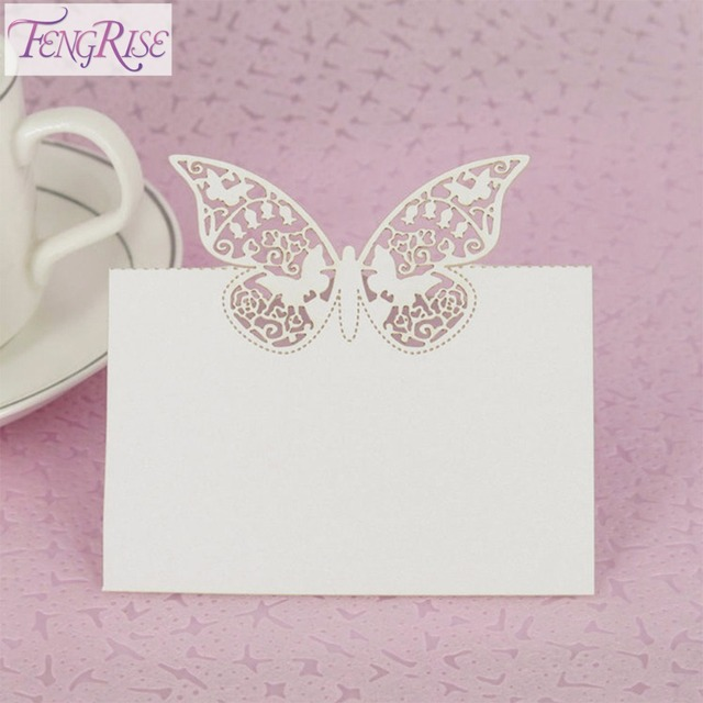 FENGRISE 50Pcs Wedding Table Decoration Paper Butterfly Bride To Be Heart Place Name Cards Birthday Party Events Supplies