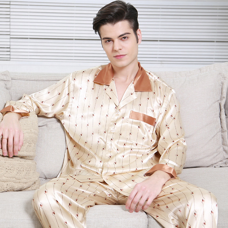 Fashion Brand Summer 100% Mulberry Silk Pajamas For Men Solid Lounge Wear&sleepwear Clothes Home Suit Man  Free Shipping