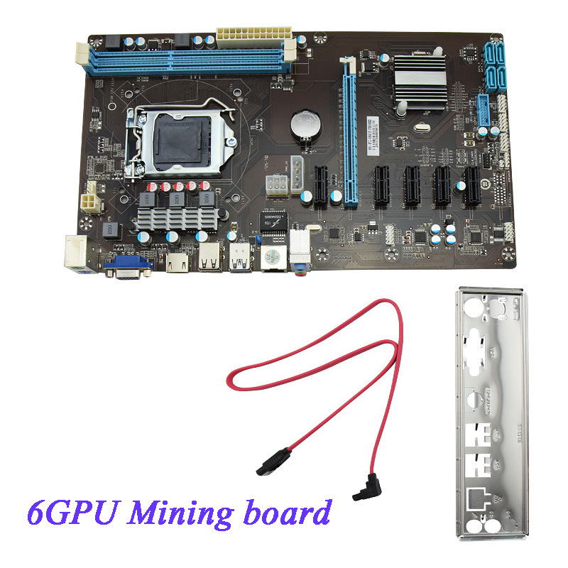 Mining Motherboard H81 6GPU 3.0 Adapter PCI-E Express Riser Card Support DDR3 Mainboard PCI Motherboard For BTC Eth Rig Ethereum integrated online analytical mining olam