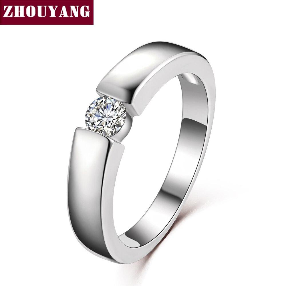 Zhouyang 4.5 мм сердца и стрелы кубического циркония обручальное кольцо розовое золото и серебро Цвет Классическая палец кольцо R400 R406