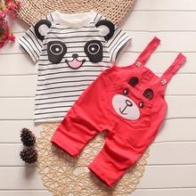Baby Boys Clothing Sets Giant Panda Short-Sleeved Summer Kids Clothes Toddler Girls T-Shirt + Strap Shorts Set Infant Rompers