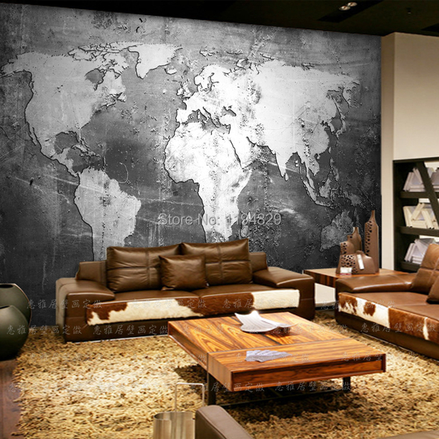 3D Retro Nostalgia Old Wall World Map Large Mural Wallpaper TV Sofa Background Photo Wallpapers Used