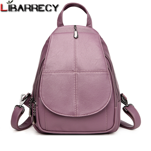 Fashion Simple Backpack Female High Quality Soft Leather School Bags for Girls  Luxury Brand Shoulder Bags 79beaabbe26e