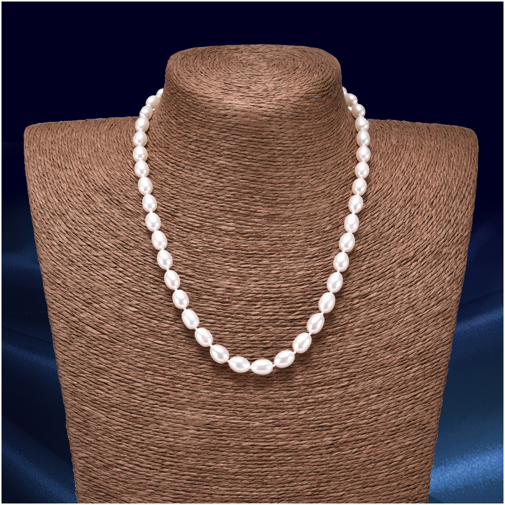 Natural White Rice Shape Pearl Necklaces for Women 7 8MM Freshwater Pearls Chorker Necklace Fine Jewelry FEIGE in Necklaces from Jewelry Accessories