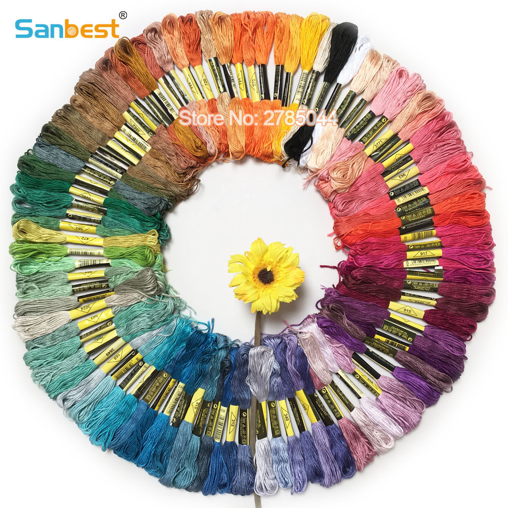 Sanbest 100 Pieces Multi-color Cross Stitch Thread Shiny Embroidery Thread Crafts Floss Sewing Threads Hand Knitting TH00038