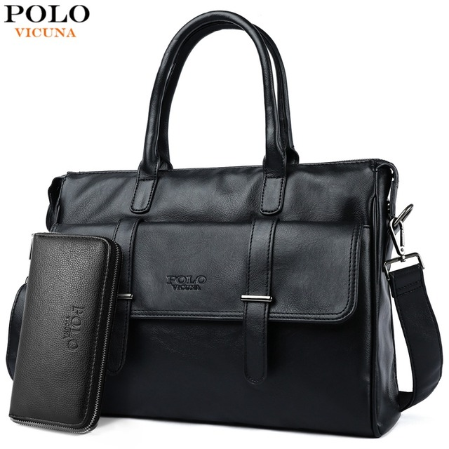 VICUNA POLO новый черный кожаный известный бренд деловой мужской портфель для мужчин ts сумка Повседневная Большая емкость мужские сумки