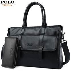 Викуньи поло новый черный кожаный Известный бренд бизнес для мужчин Портфели для s сумка повседневное большой ёмкость путеш